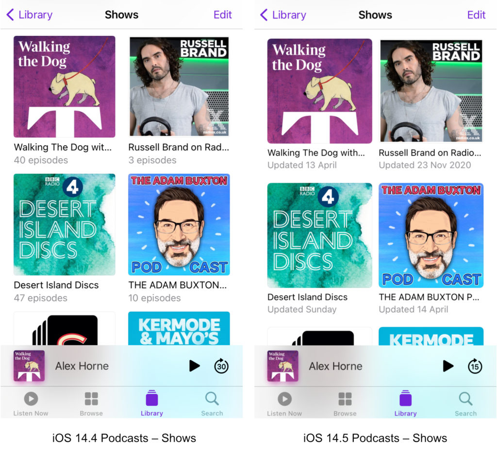 Podcasts in iOS 14.5 – Shows